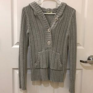 Old Navy Sweaters - Gray Button Up Sweater with a Hood